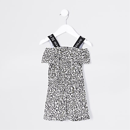 Mini girls black leopard print playsuit