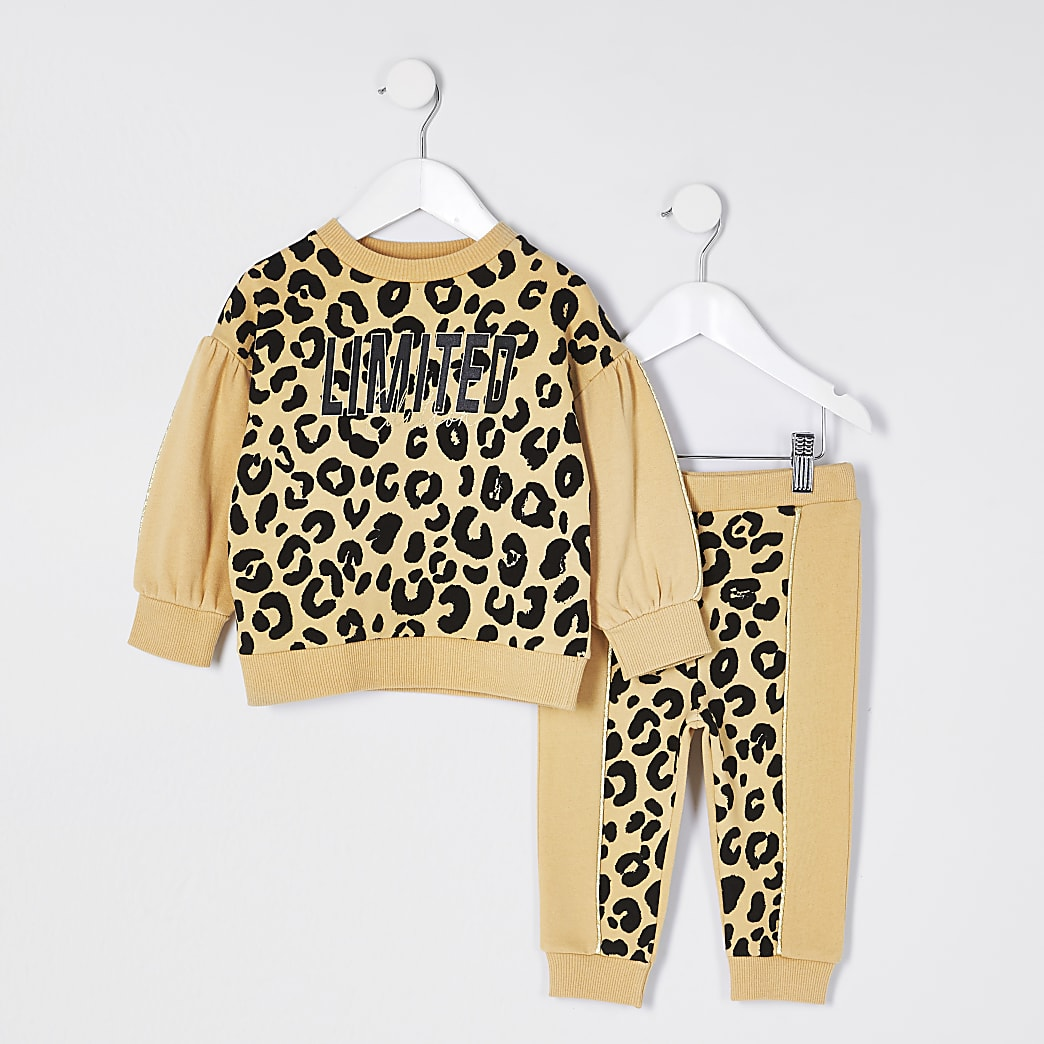 Mini girls black leopard print sweat outfit