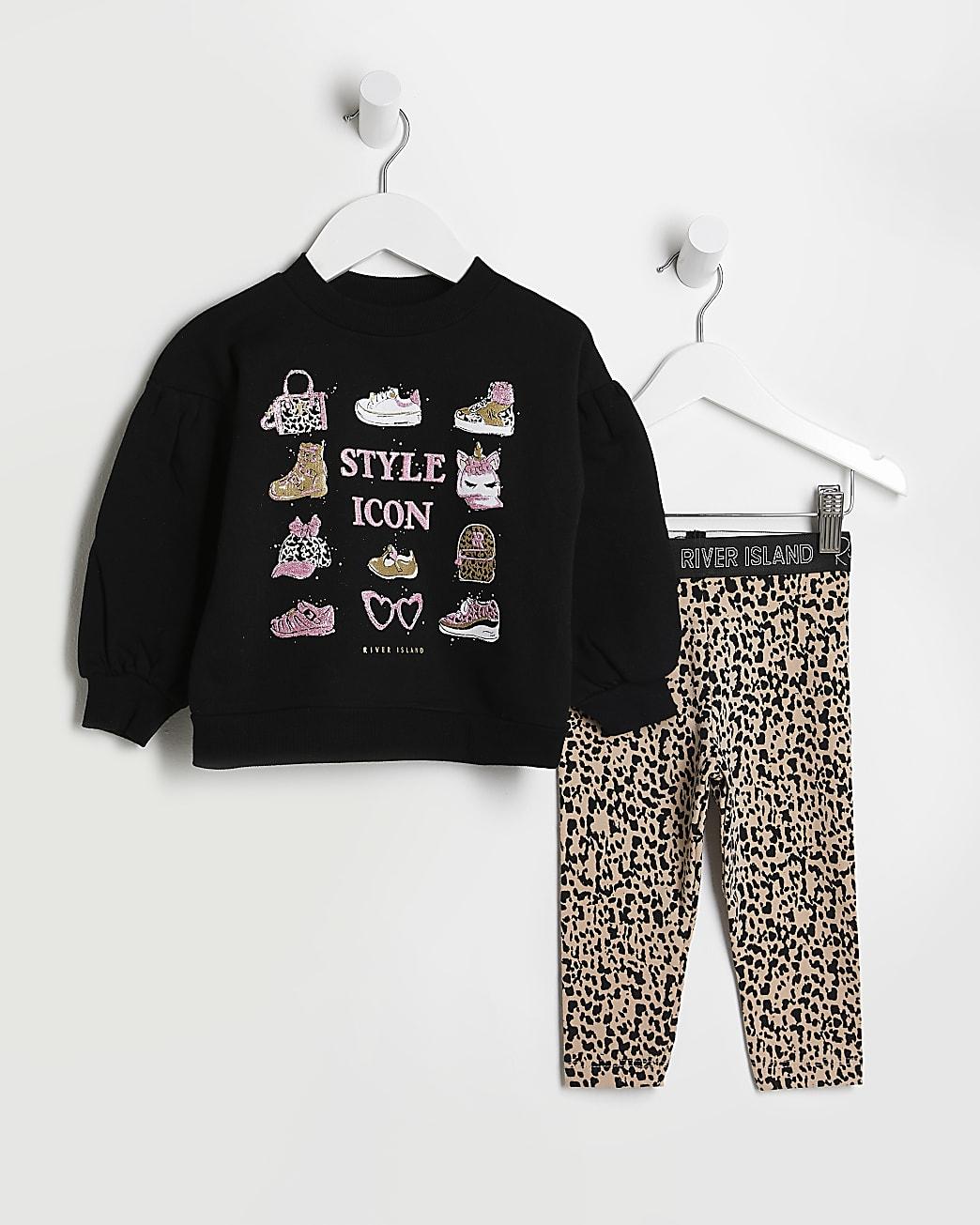 Mini girls black leopard sweatshirt outfit