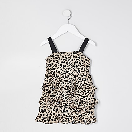Mini girls black leopard tiered dress