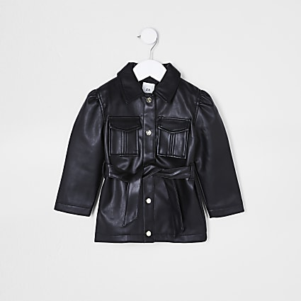 Mini girls black longline faux leather jacket