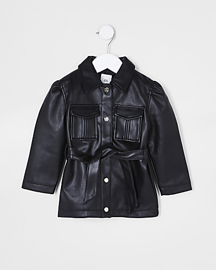 Mini girls black longline faux leather jacket