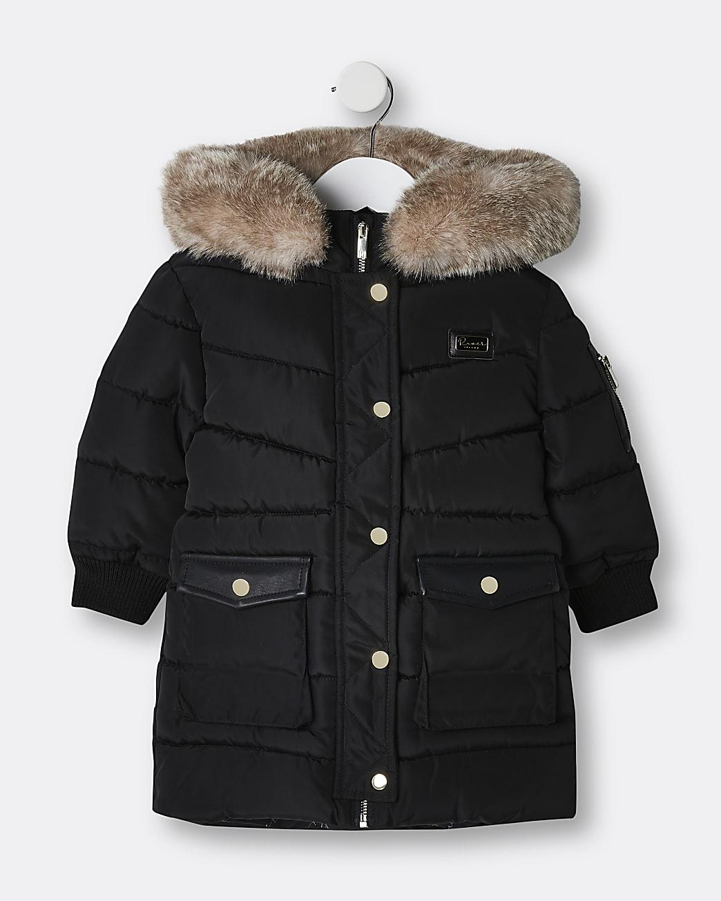 Mini girls black longline puffer coat
