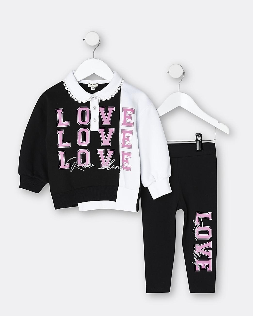 Mini girls black 'Love' collar sweatshirt set