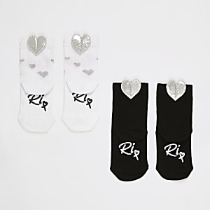 Mini - Zwarte sokken met hartjesprint voor meisjes set van2
