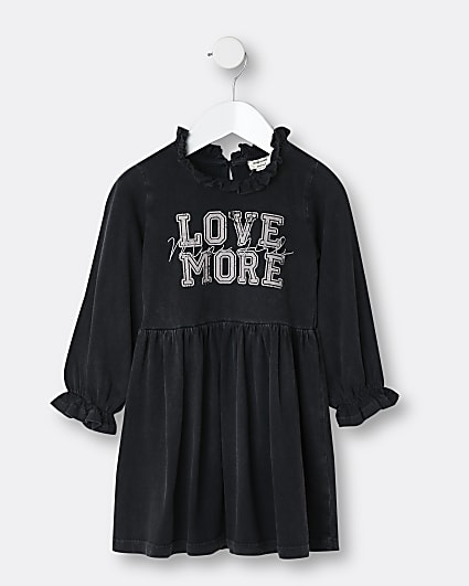 Mini girls black 'Love More' frill hem dress