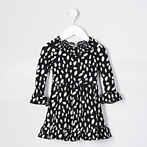 Mini Girls Black LS Ruffle Neck Dress