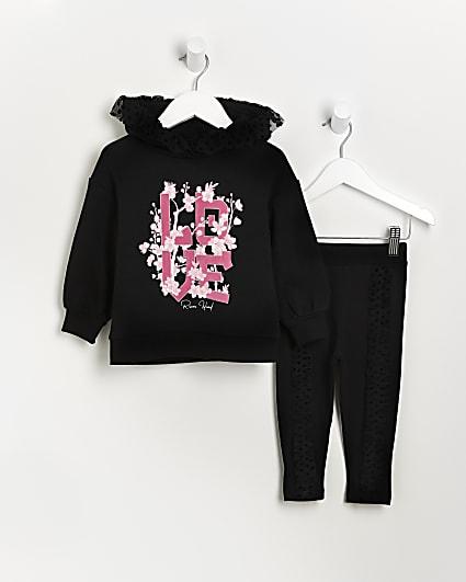 Mini girls black mesh frill hoodie outfit
