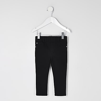 Mini girls black mid rise pull on jeggings