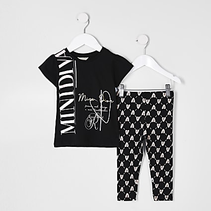 Mini girls black 'Mini diva' t-shirt outfit