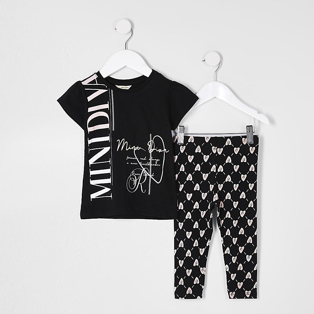 Mini girls black 'Mini diva' t-shirt outfit