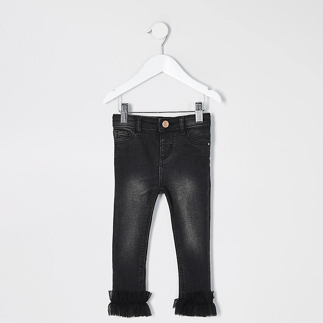 Mini - Molly - Zwarte jeans met ruches langs de zoom voor meisjes