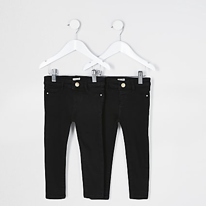 Mini girls black Molly jeggings 2 pack
