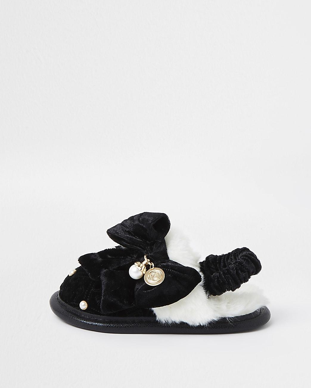 Mini girls black monogram bow slippers