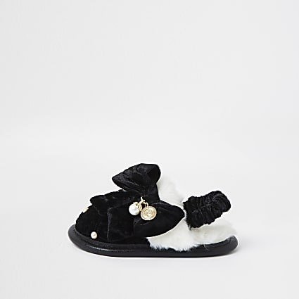 Mini girls black monogram bow slippers
