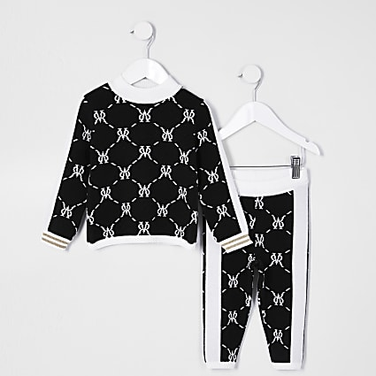 Mini girls black monogram legging outfit