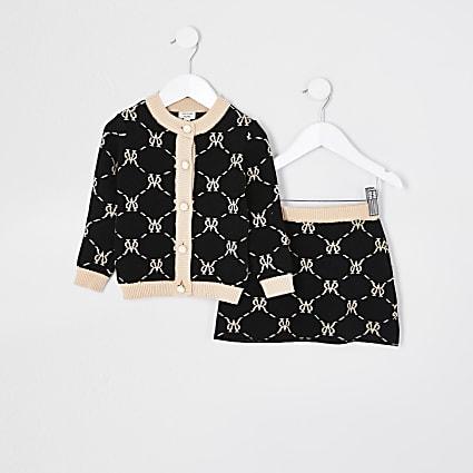 Mini girls black monogram skirt outfit