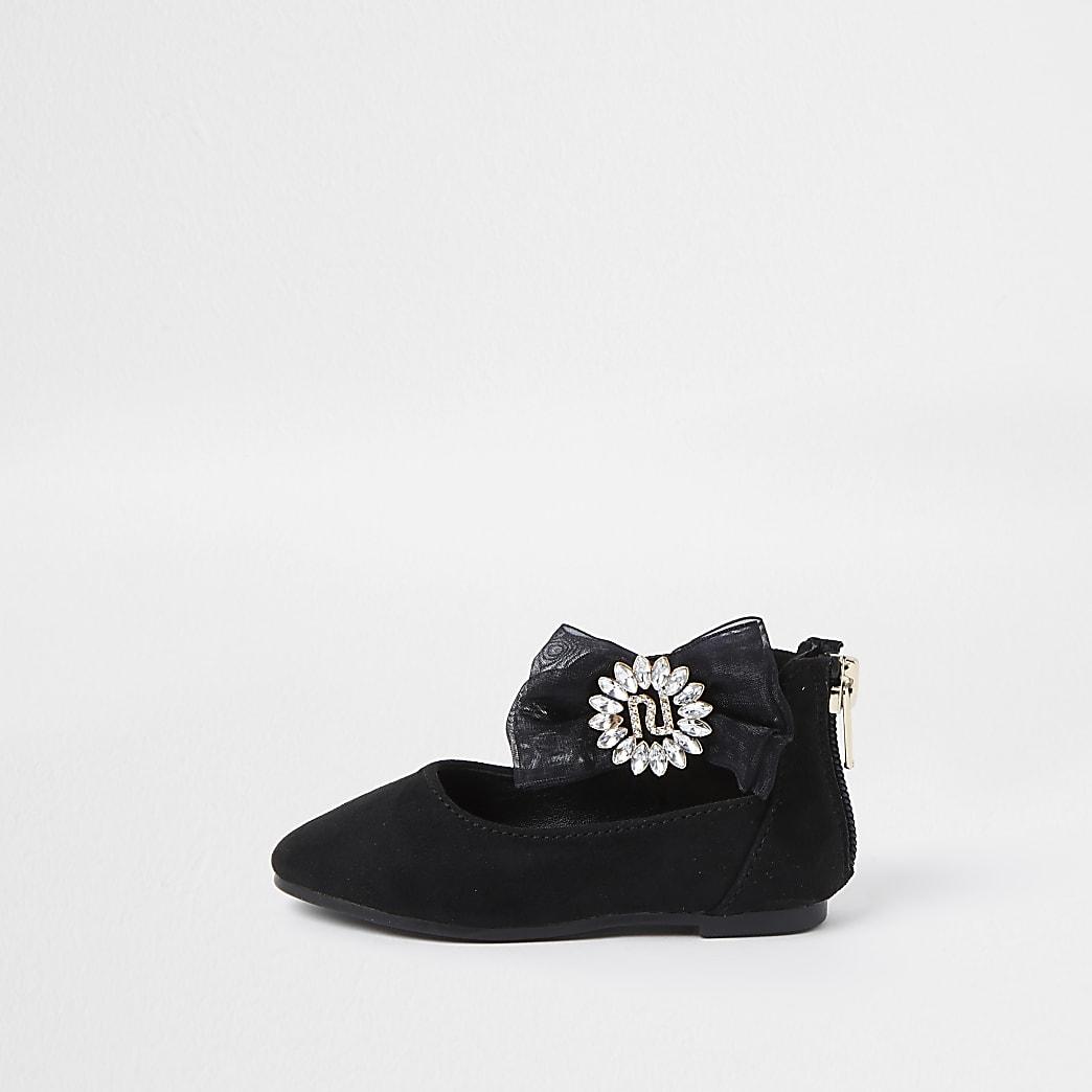 Mini girls black organza bow ballerina shoes