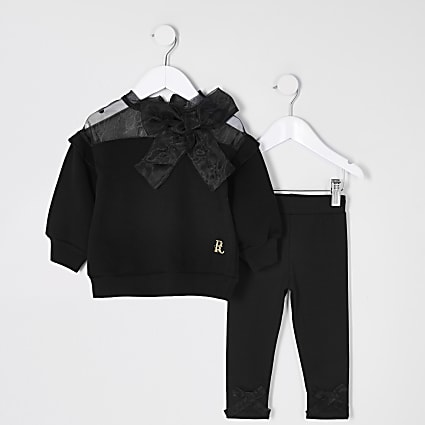 Mini girls black organza bow sweat outfit