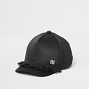 Mini– Schwarze Organza-Kappe mit Rüschen für Mädchen