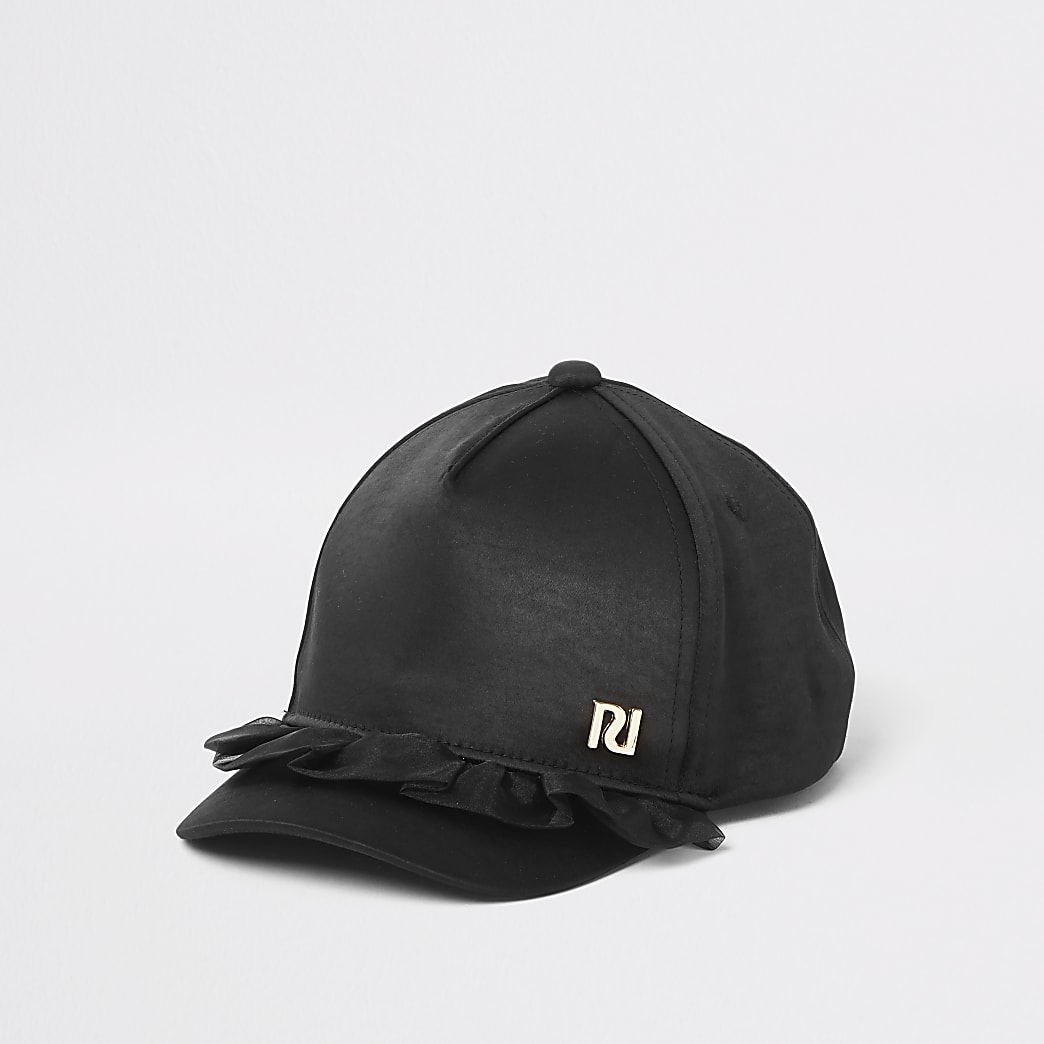 Mini girls black organza frill cap