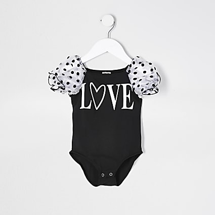 Mini girls black organza love print bodysuit