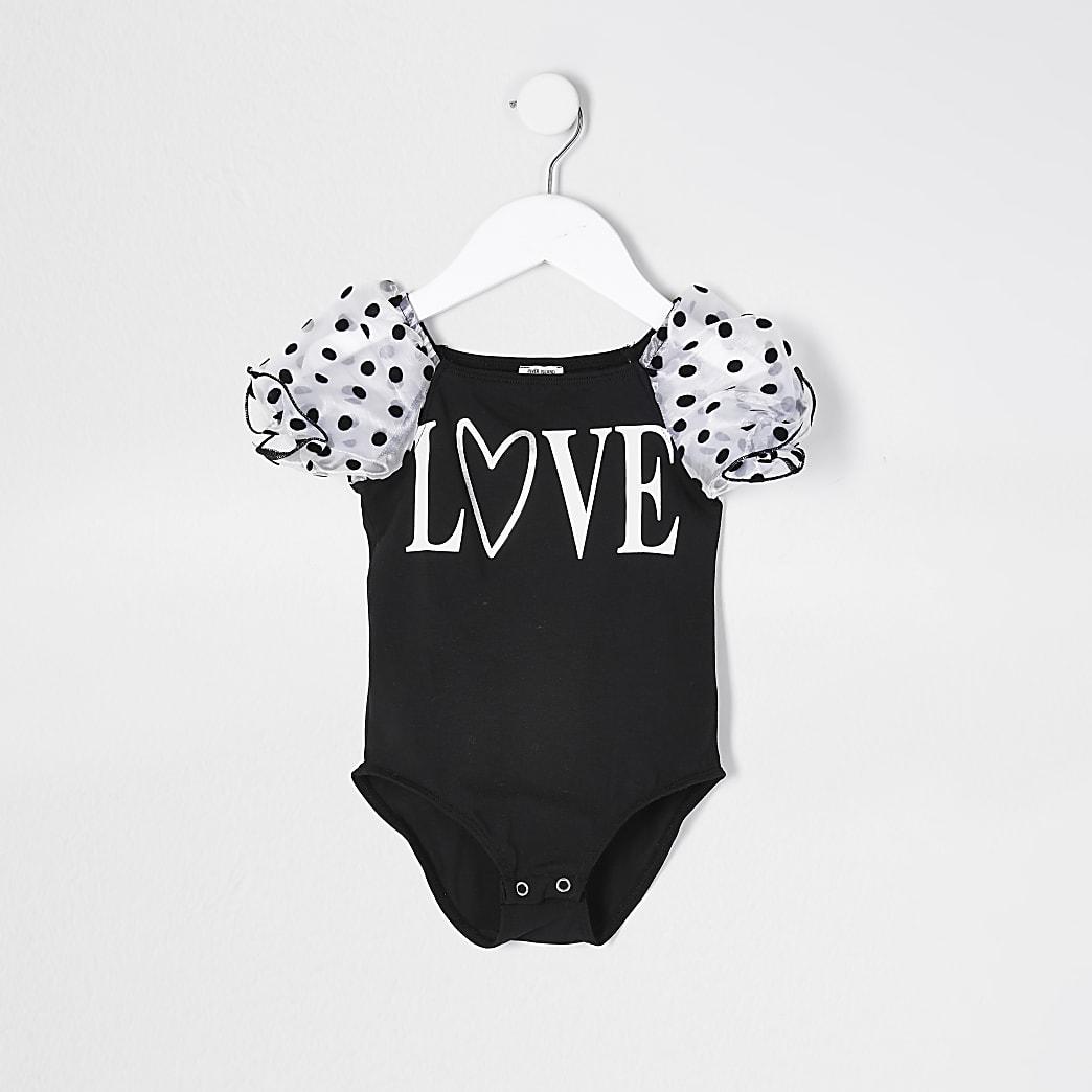 Mini girls black organza love print bodysuit