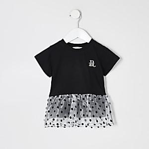 Mini – Schwarzes T-Shirt mit Schößchensaum aus Organza für Mädchen