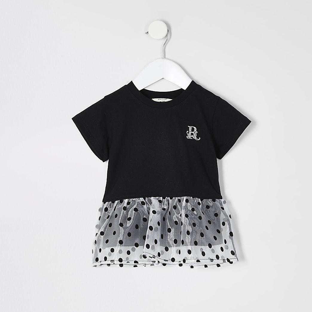 Mini - Zwart organza T-shirt met peplum en zoom voor meisjes