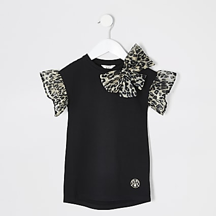 Mini girls black organza T-shirt dress