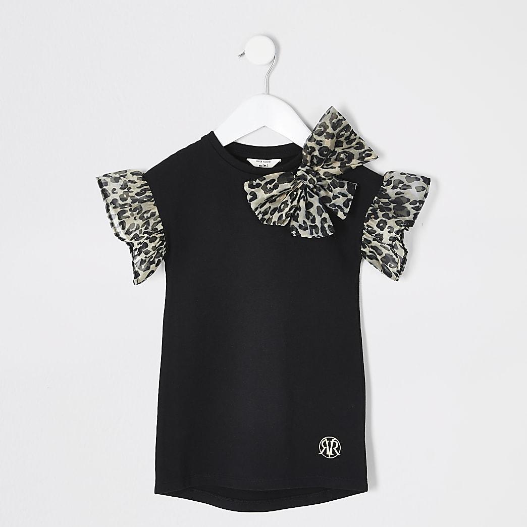 Mini girls black organza T-shirt dress