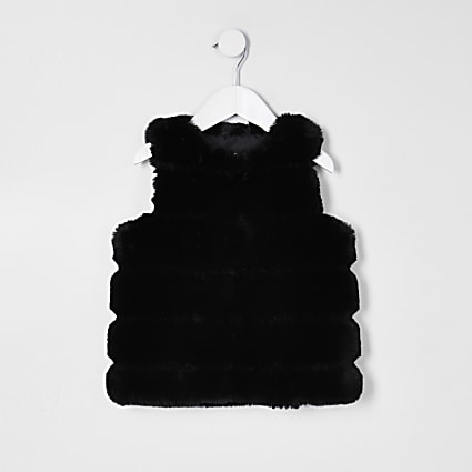 Mini girls black panelled faux fur gilet