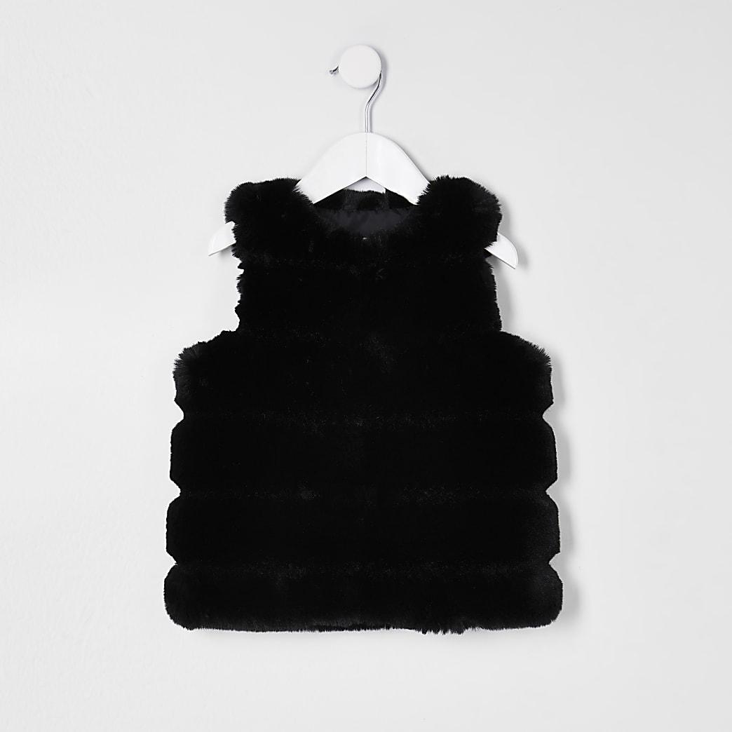 Mini girls black panelled faux fur gilet