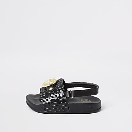 Mini girls black panther charm sandals