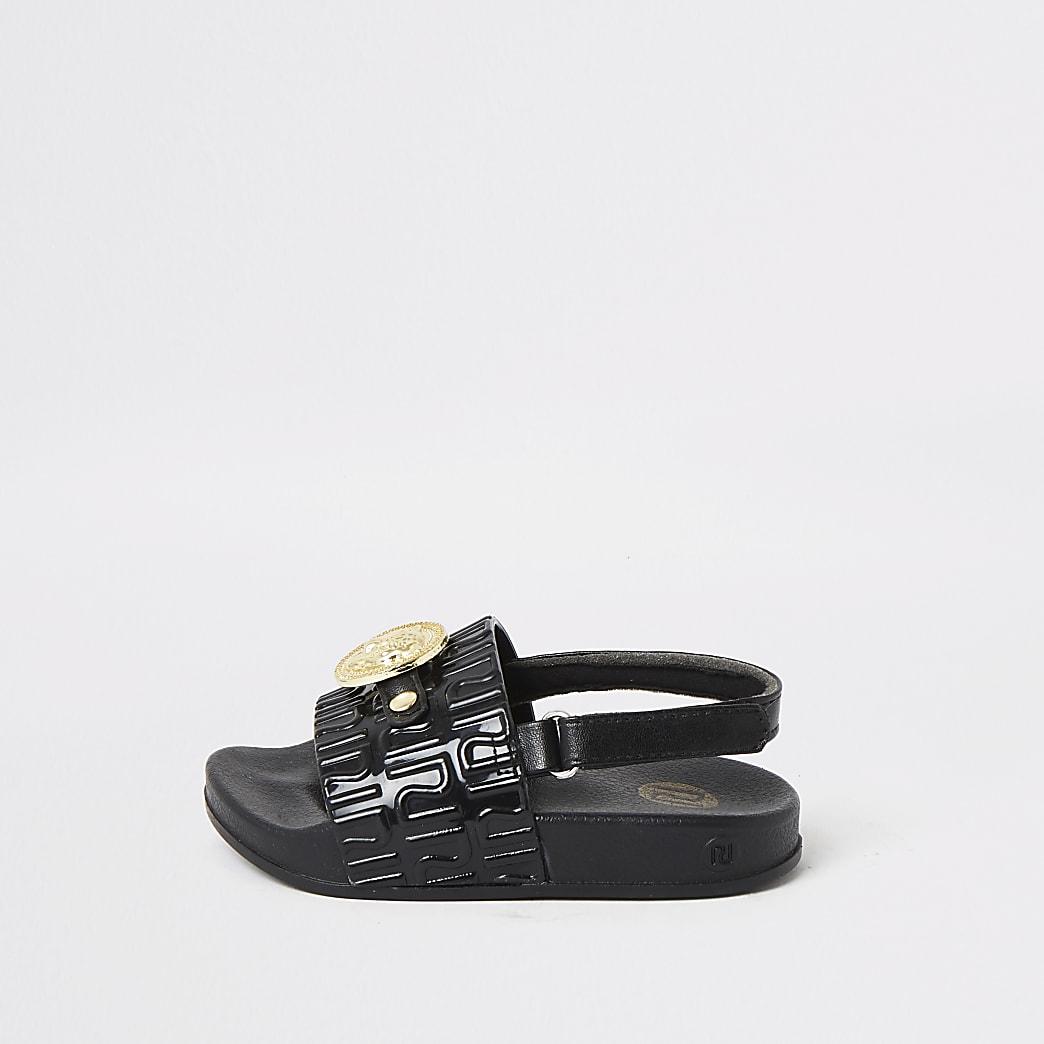 MIni - Zwarte sandalen met panterbedel voor meisjes