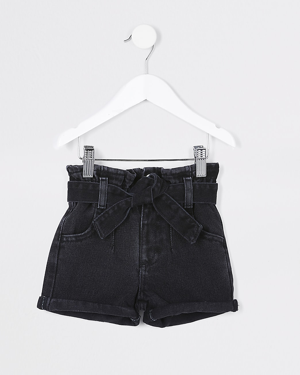 Mini girls black paper bag denim shorts