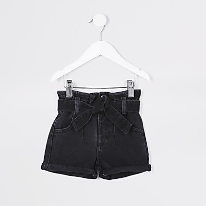 Mini girls black paper bag denim shorts
