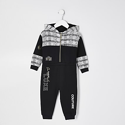 Mini girls black 'Paris Luxe' hooded jumpsuit
