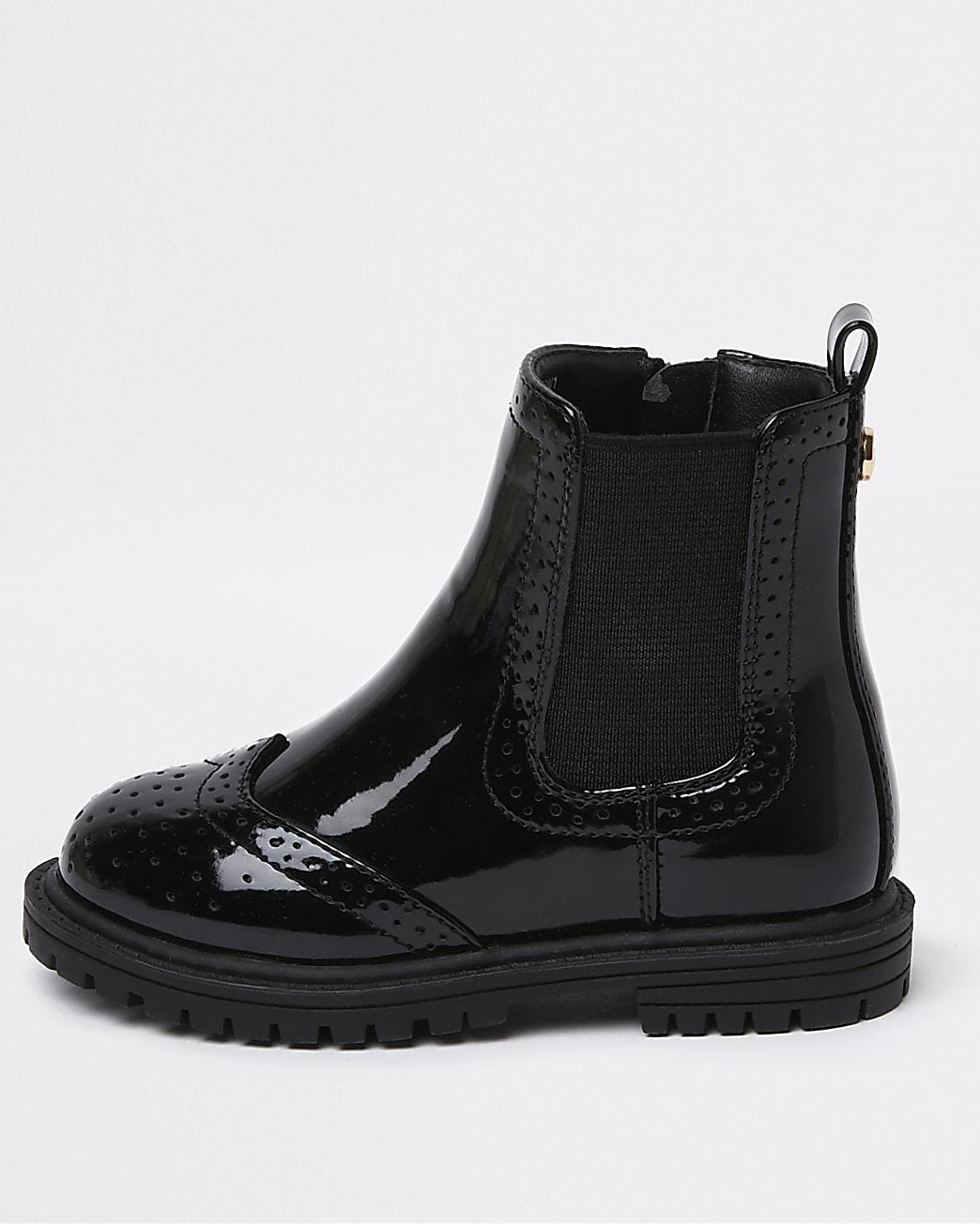 Mini girls black patent brogue chelsea boots