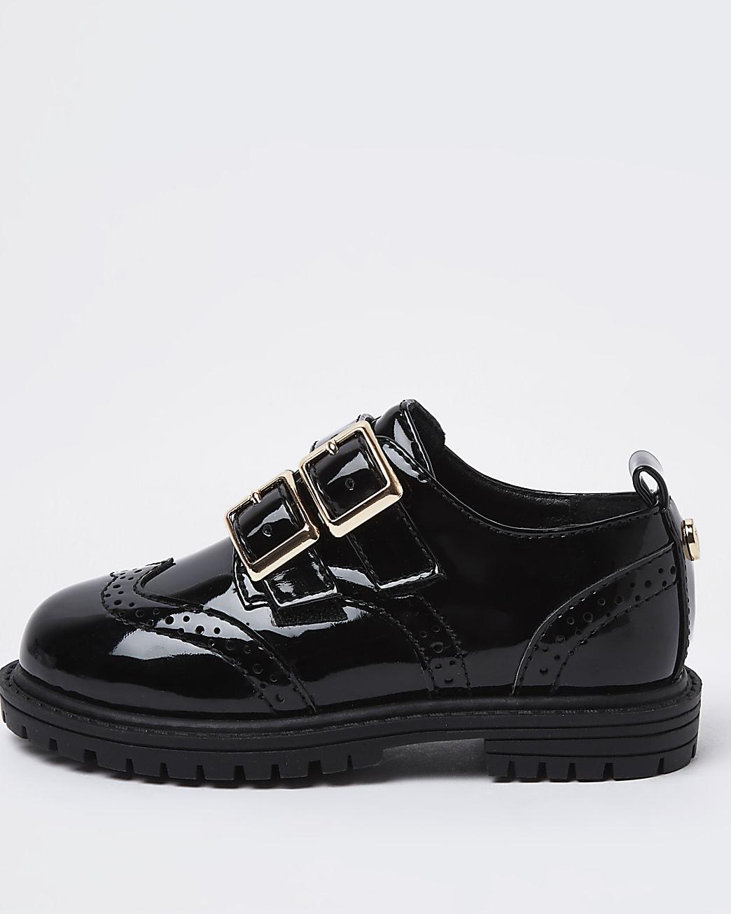Mini girls black patent buckle shoes
