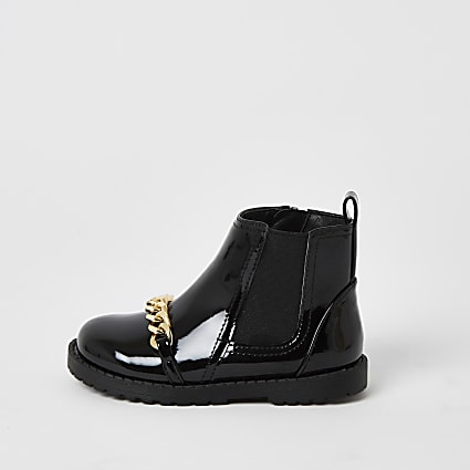 Mini girls black patent chain front boots