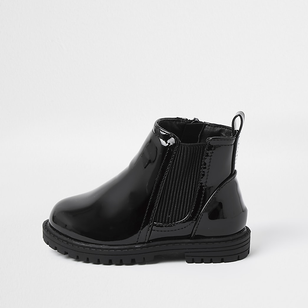 Mini girls black patent clumpy chelsea boots