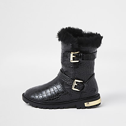 Mini girls black patent croc clumpy boots