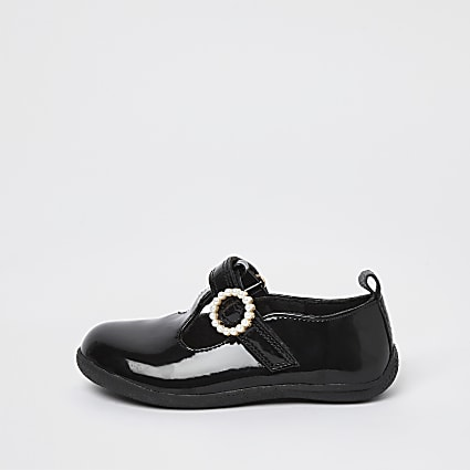 Mini girls black patent embellished shoes