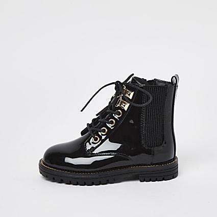 Mini girls black patent lace up boots