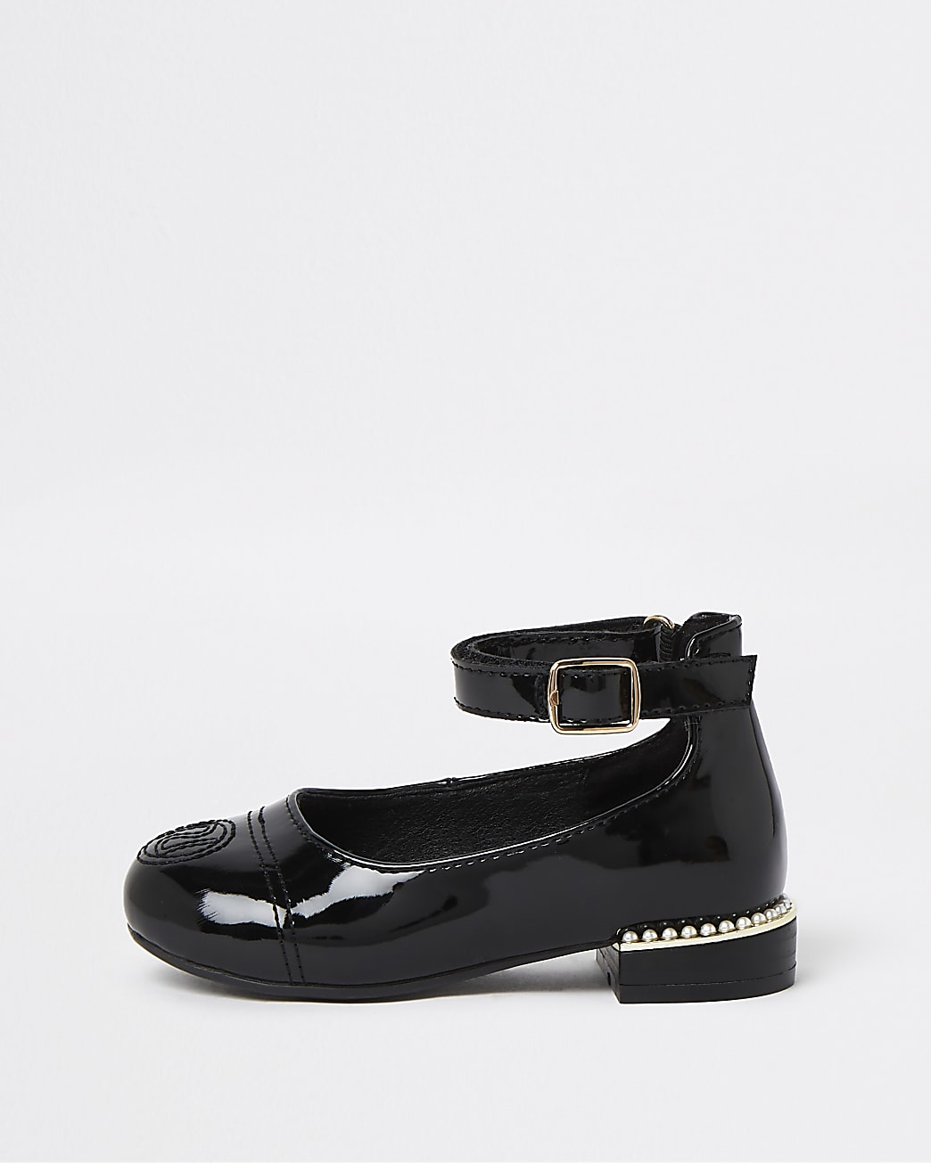 Mini girls black patent pearl ballerina shoes