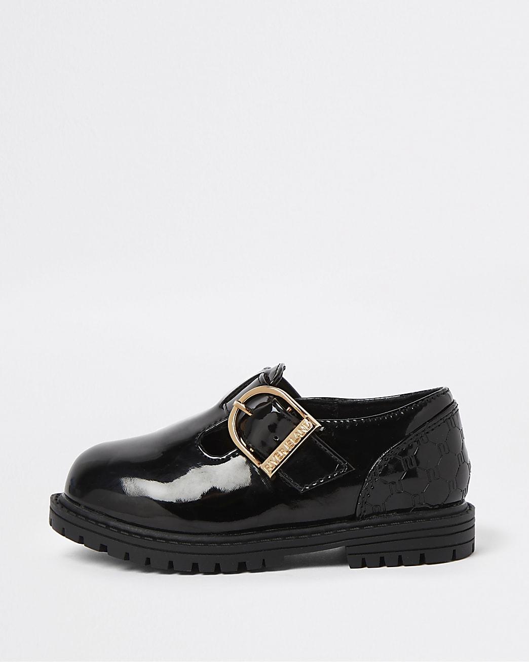 Mini girls black patent RI embossed shoes