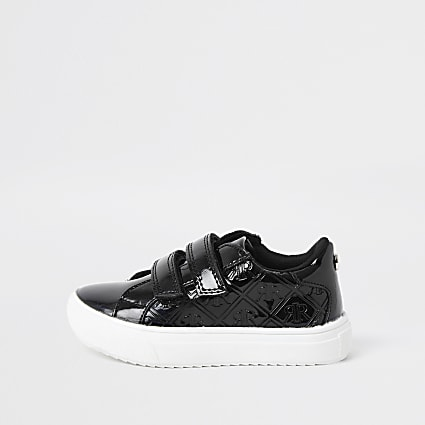 Mini girls black patent RI monogram trainers