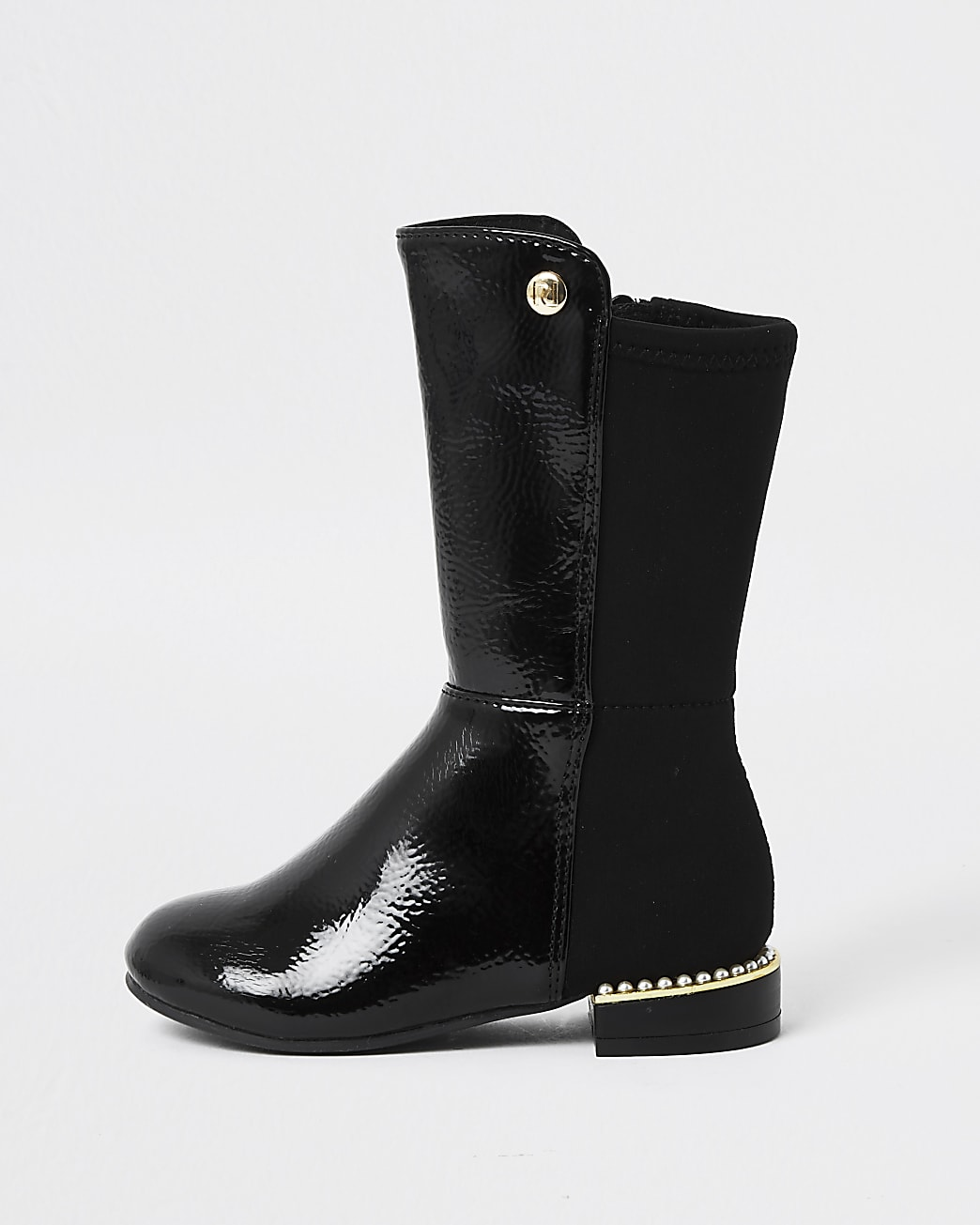 Mini girls black pearl heel knee high boot