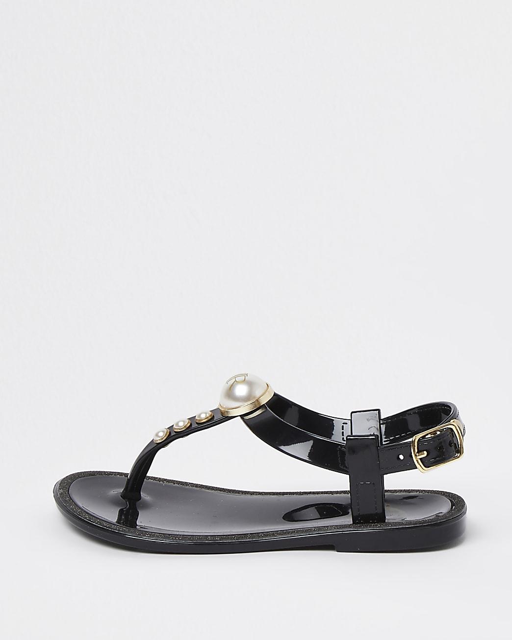 Mini girls black pearl jellie sandals